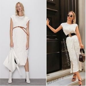 ZARA OFF WHITE WRINKLE EFFECT MAXI DRESS WITH BELT